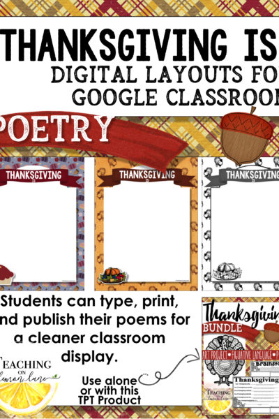 Thanksgiving Poem Layout for Google Classroom